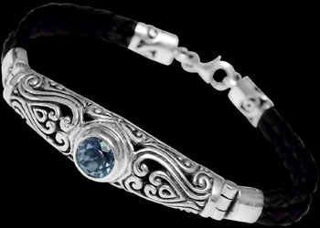 Topaz and Black Synthetic Leather and Sterling Silver Bracelets B709