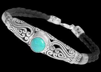 Turquoise and Black Synthetic Leather and Sterling Silver Bracelets B709