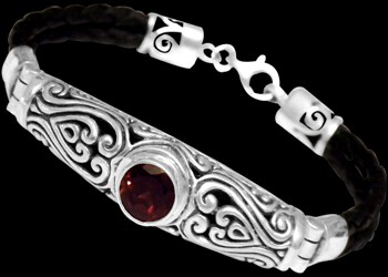 Garnet and Black Synthetic Leather and Sterling Silver Bracelets B709