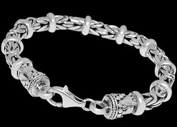 Mens Jewelry - Sterling Silver Bracelets B676L- Lobster Clasp - 6mm