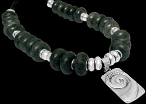 Green Beads .925 Sterling Silver Beads Black Leather Necklaces - 'Journey' Silver Message Pendant BB331