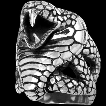 .925 Sterling Silver King Cobra Snake Rings R301