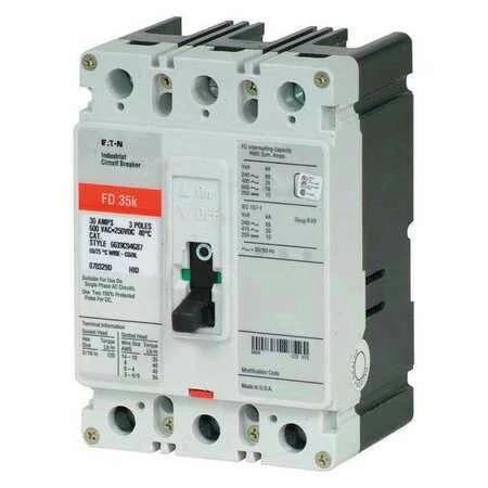 Cutler Hammer HFD 65k 3 pole 25 amp 600v HFD3025L Circuit Breaker Red UR