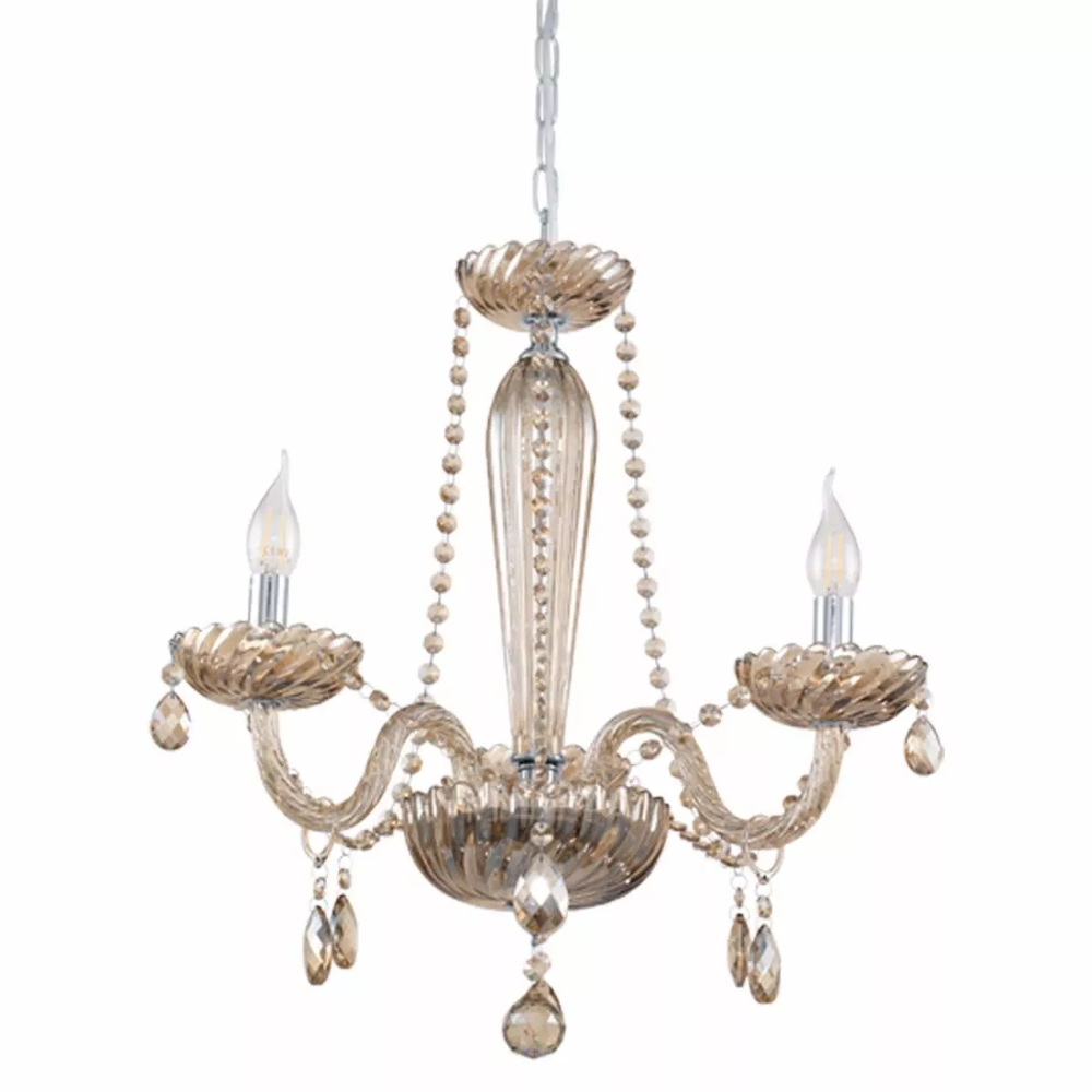 New Eglo Basilano 3 Light Cognac Chrome Crystal Chandelier Pendant 39091