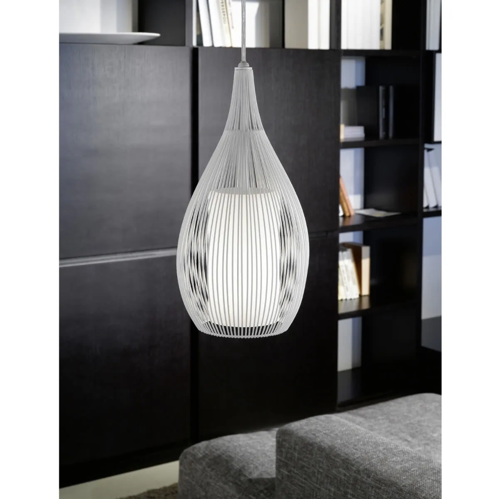 New eglo razoni white steel cage frosted glass pendant light new eglo razoni white steel cage frosted glass pendant light 92251 aloadofball Choice Image