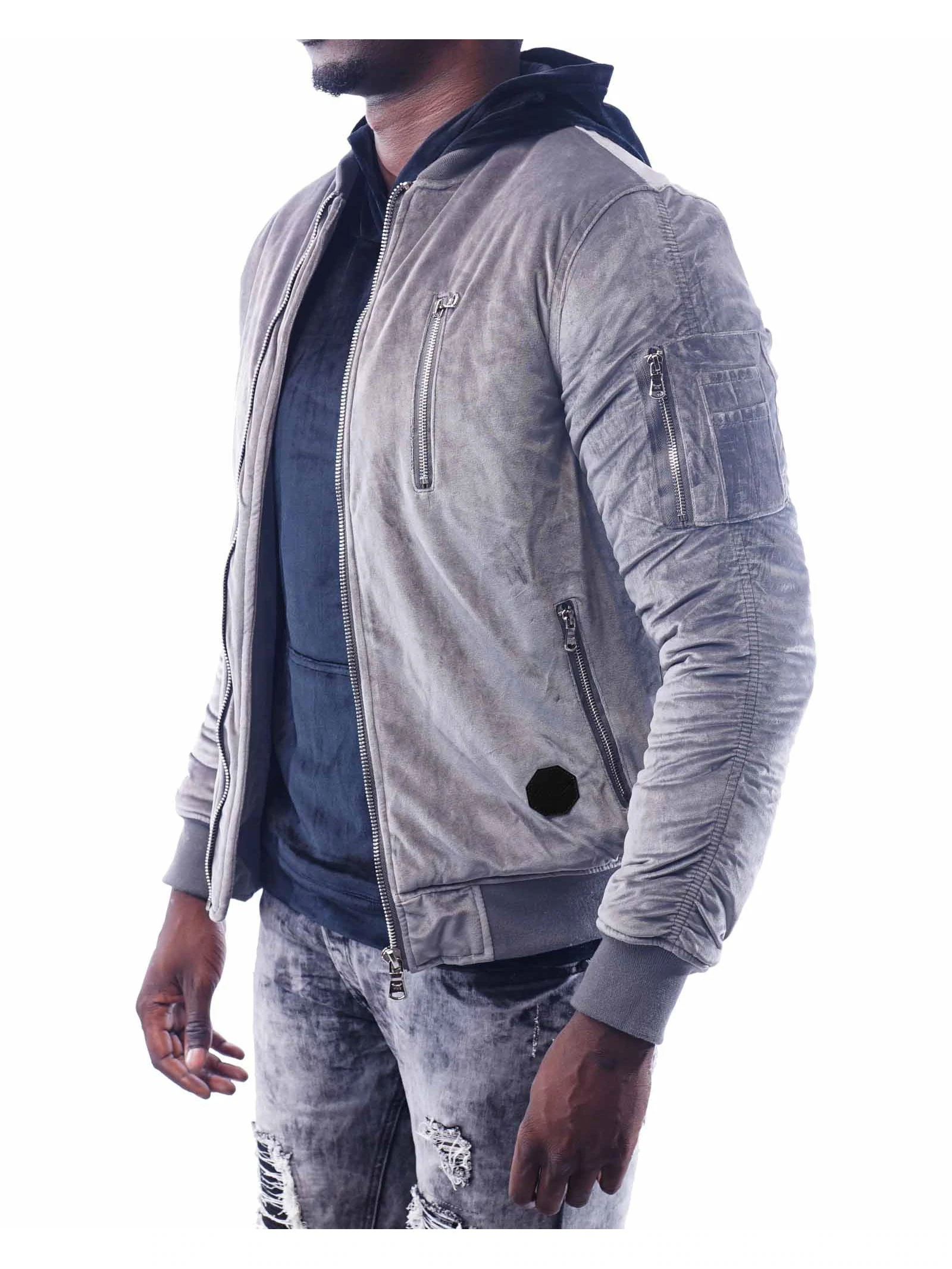 Project X Paris Velours Veste Aviateur Gris | eBay