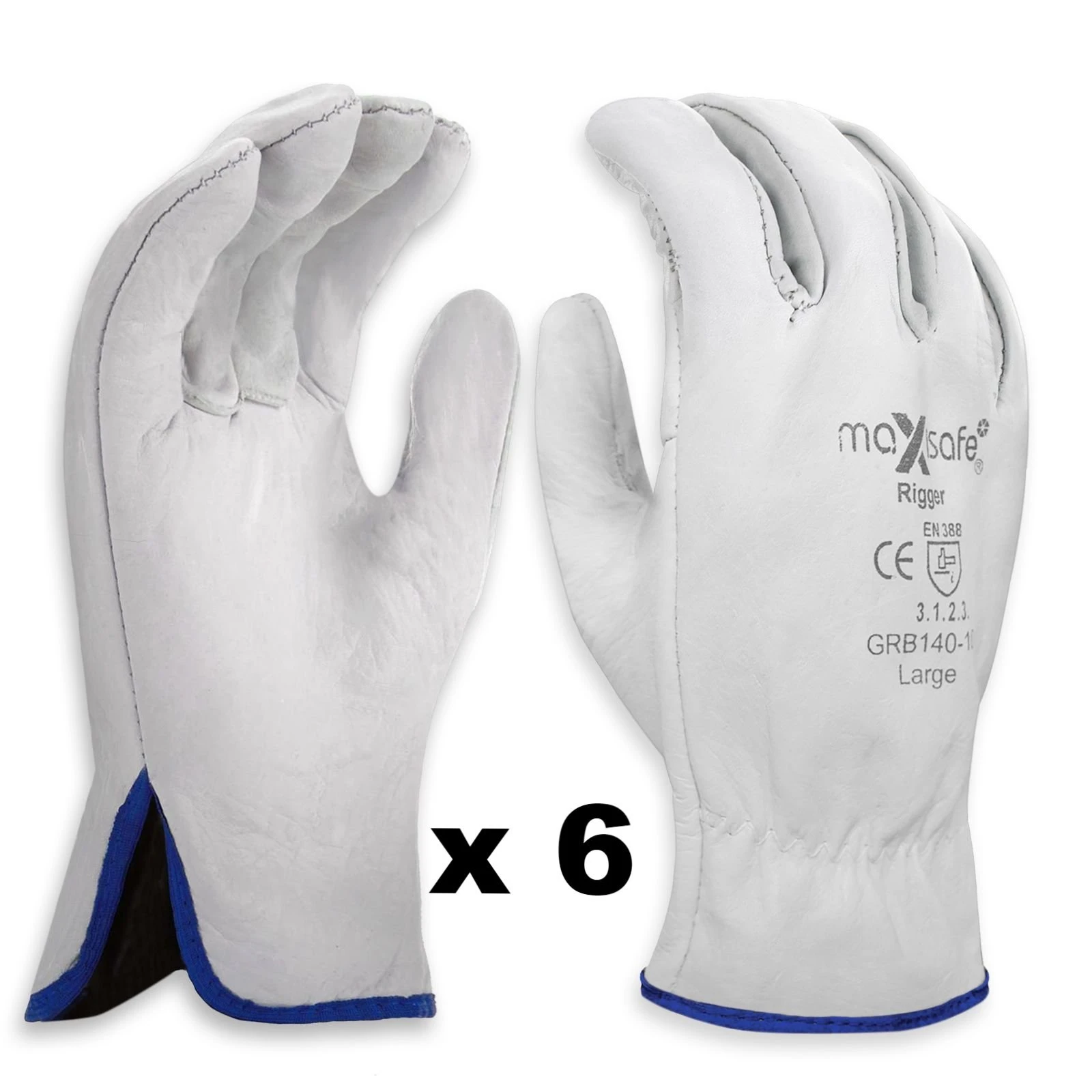 MAXISAFE PREMIUM COWGRAIN LEATHER BEIGE RIGGER'S GLOVES LARGE