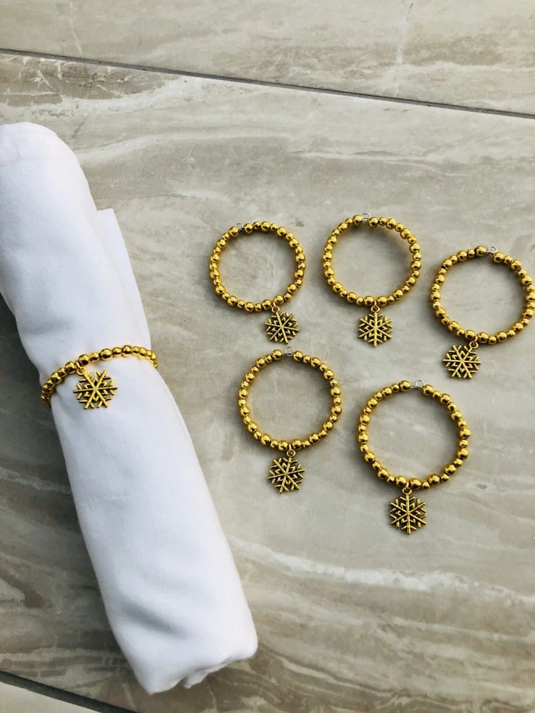 Gold Snowflake Christmas Napkin Rings Serviette Rings Beaded Napkin Rings Nap Ebay
