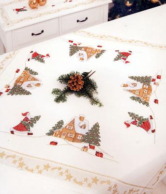 "Rico Design Christmas themed rtablecloth. Dims. 90cm x 90cm (35"" x 35"").  96% polyacryl/4% lurex. - Priced at AU$64.00 + GST"