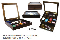 Sew Easy Collection Wooden Sewing Chest 2 tier with drawer