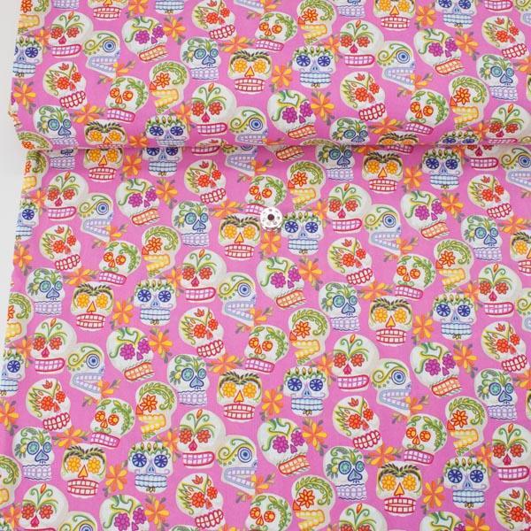 Alexander Henry Fabric Mini Calaveras Hot Pink HALF METRE