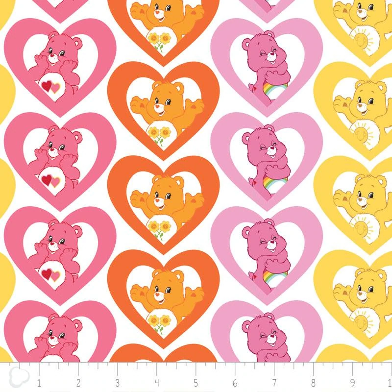 Camelot Fabric Care Bears Warm Hearts In Pink HALF METRE