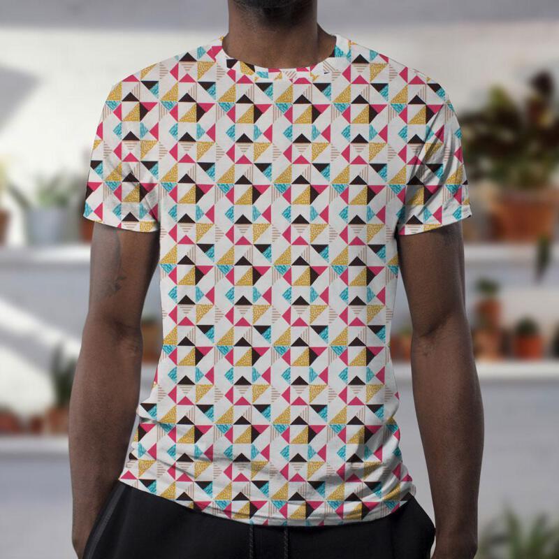 43974922d28 Stretch/Knit Fabric Geometric Triangles Organic Jersey Print HALF ...