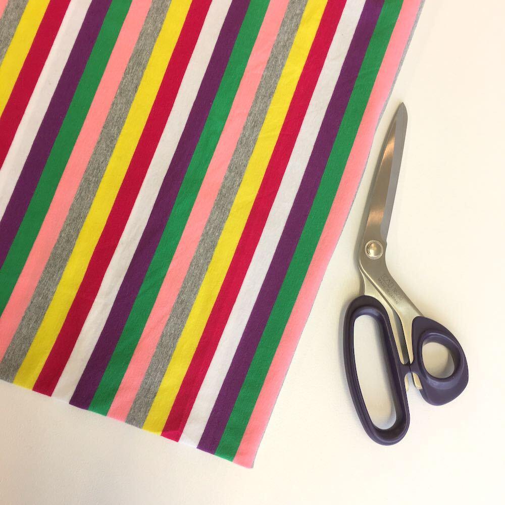 Rétro Arc-En-Rayure Yarn Teint tissu jersey demi mètre couture tricot Stretch