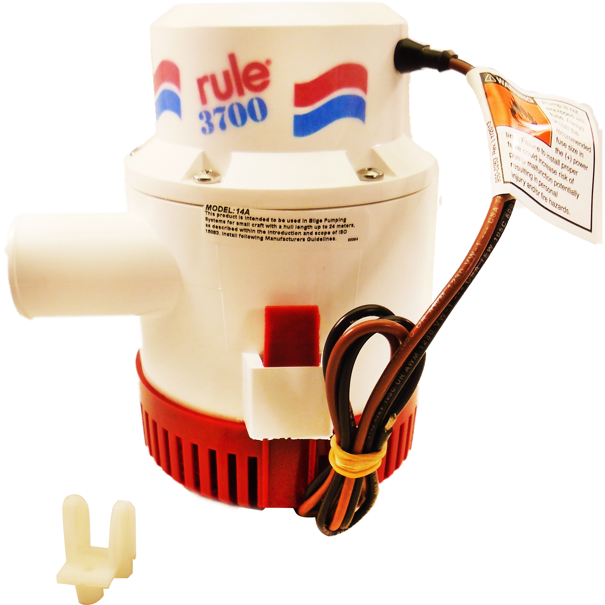 14A Non-Automatic Rule Marine 3700 GPH Bilge Pump 12 Volt