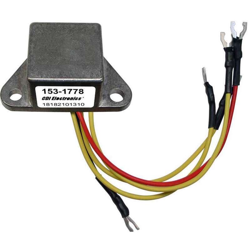 Details about CDI 153-1778 Johnson Evinrude Rectifier 4 Wire with Ring  Terminals 175692 581778