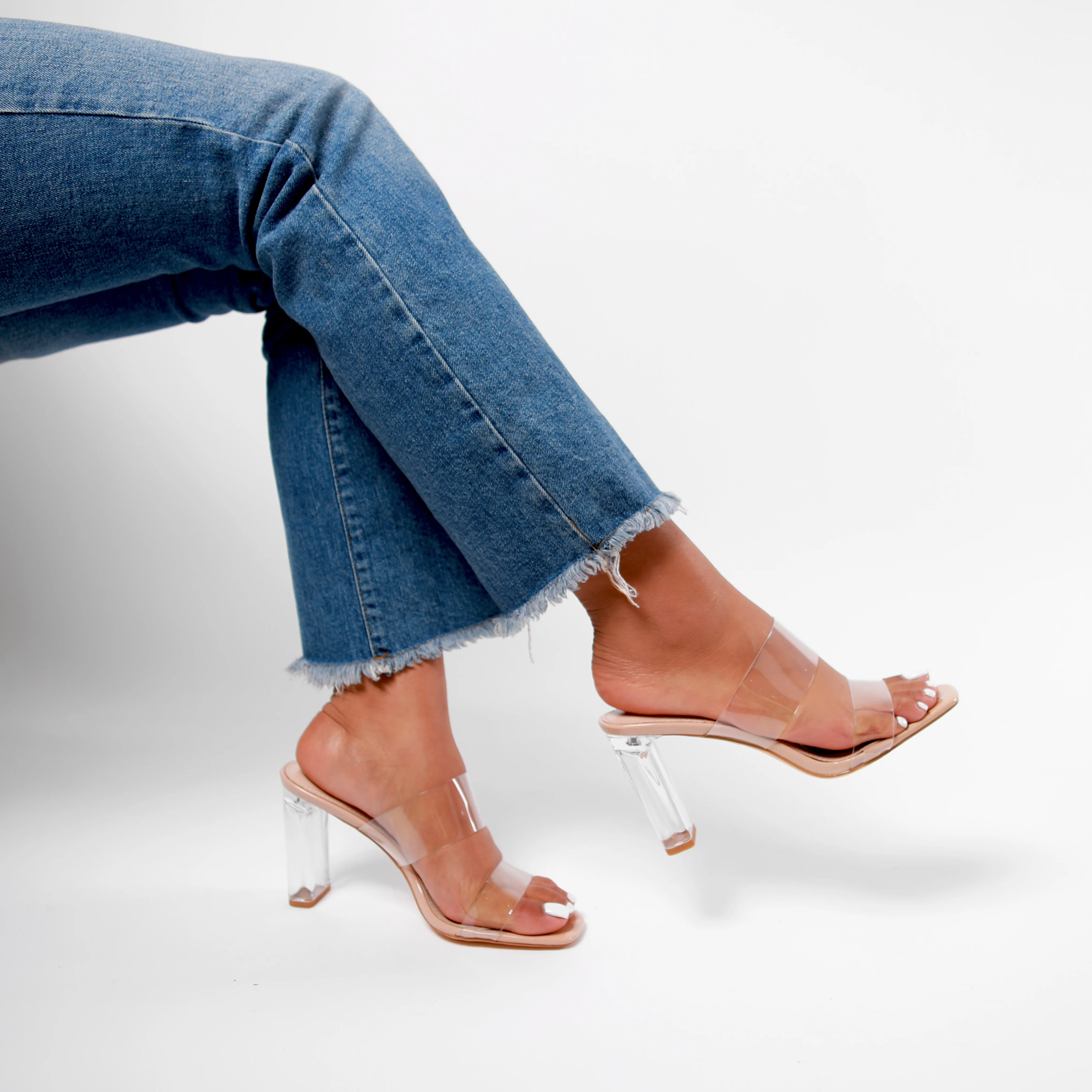 DENI Nude Perspex Mule With Double