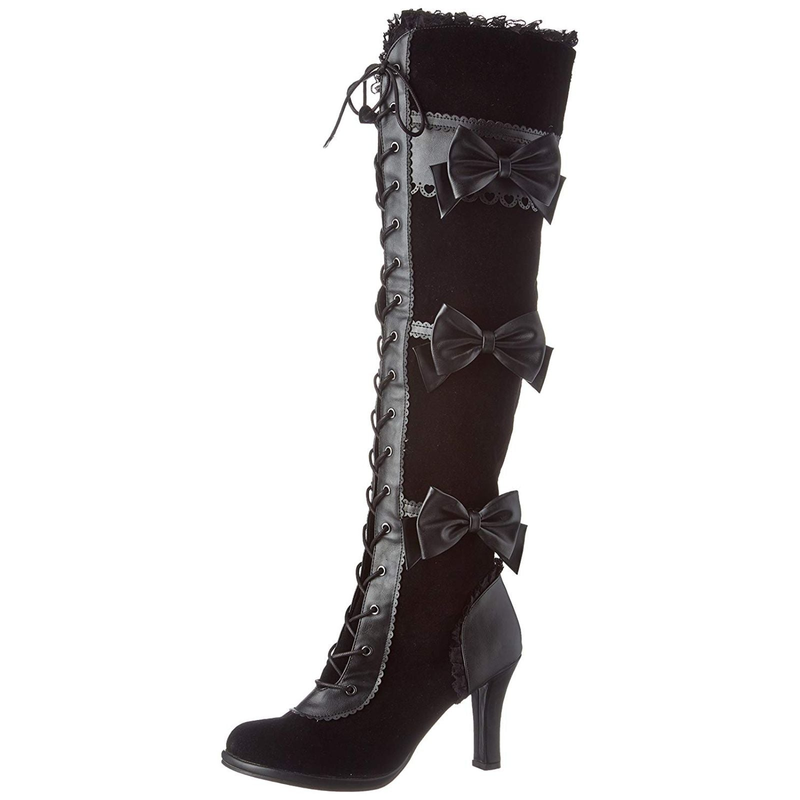 Demonia EMILY-375 Women/'s Punk Goth Black Platform Thigh-High Lace-Up Vegan Boot