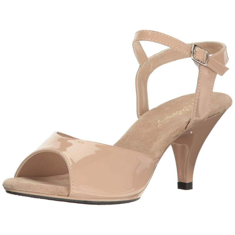 enjoy best price best prices best quality for Details about Nude Womens Formal Kitten Heel Open Toe Ankle Strap Sandals  Dress Work Shoes