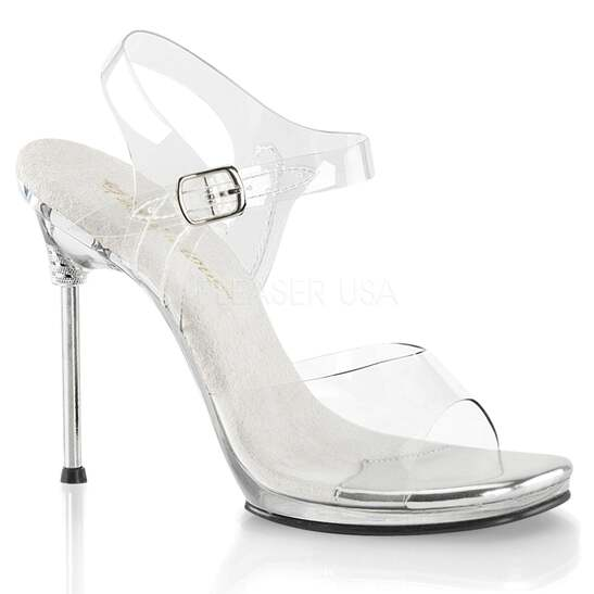 82a5c1ff09e Details about Clear Womens High Heel Platform Ankle Strap Sandals Party  Prom Bridal Shoes