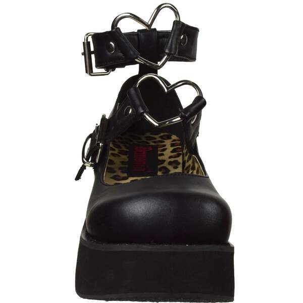 bc926fc4749 Details about Black Leather Womens Platform Mary Jane Heart O-Rings Shoes  DEMONIA SPRITE-02
