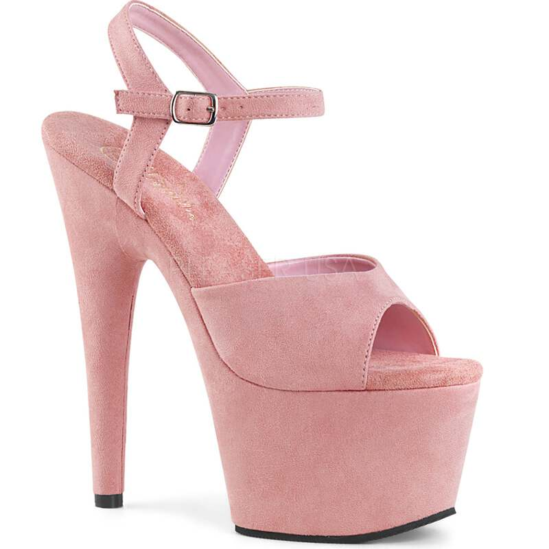 4c6f8ed0228 Details about Baby Pink Suede High Heels Ankle Strap Wrapped Platform  Stiletto Womens Sandals