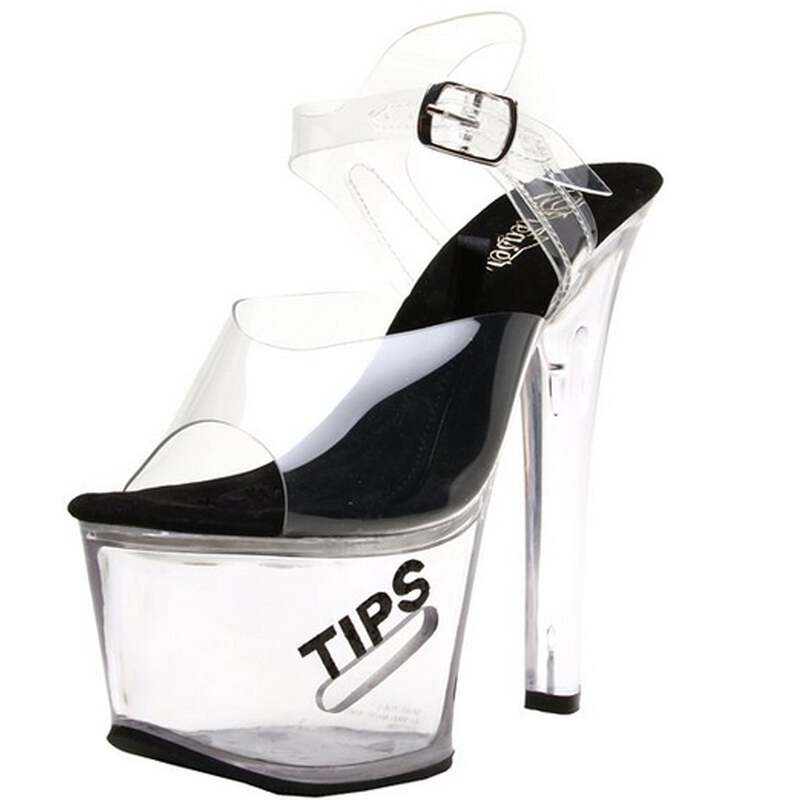 4e26be9fcc4 Details about Clear Black Ankle Strap Sandals Platform Sexy Exotic High  Heels Stripper Shoes