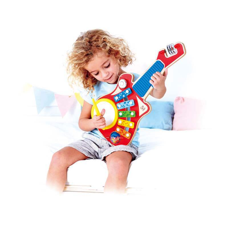 Colorful 6 Instrument Guitar Shaped Musical Toy for Ages 18 Months+ Hape 6-in-1 Music Maker