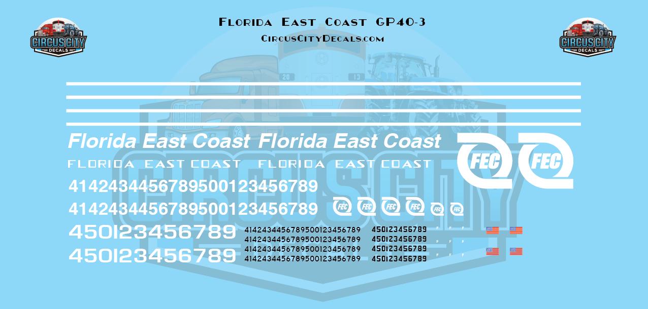 Florida East Coast FEC GP40-2 GP40-3 N Scale Decal Set