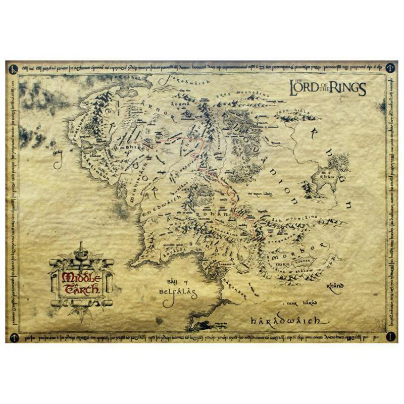 Details zu Lord of the Rings Middle Earth Parchment Map 66 x 46cm