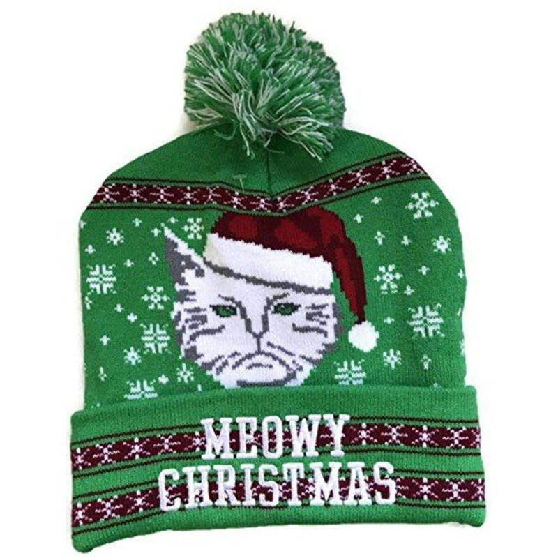Green Meowy Christmas Knit Beanie Winter Adult Hat by Greensource ... dc60ab595a8