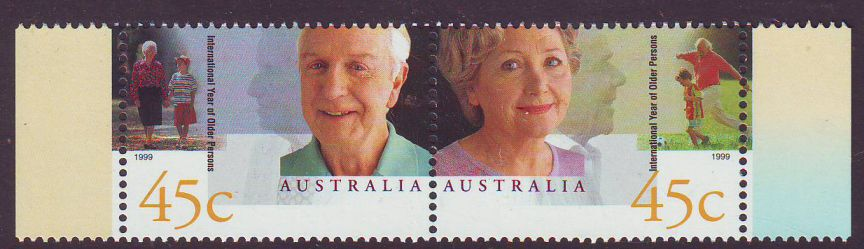 Sg#1844a Scott#1726a Older Persons Year MNH Pair