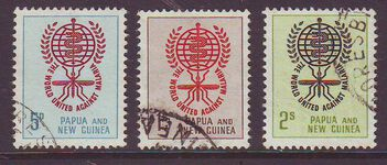 PAPUA NEW GUINEA 1962 MALARIA Set of 3 Used