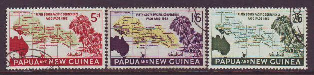 PAPUA NEW GUINEA 1962 PACIFIC CONFERENCE USED SET 3