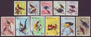 PAPUA NEW GUINEA 1964/65 BIRDS Sg61-71 Used set