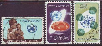 PAPUA NEW GUINEA 1965 UNITED NATIONS ANNIVERSARY Sg79-81 Used set