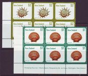 NEW ZEALAND 1979 SEA SHELLS SG1103-04 IMPRINT BLOCKS MUH