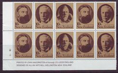 NEW ZEALAND 1979 FAMOUS STATESMEN SG1185-87 IMPRINT BLOCKS MUH