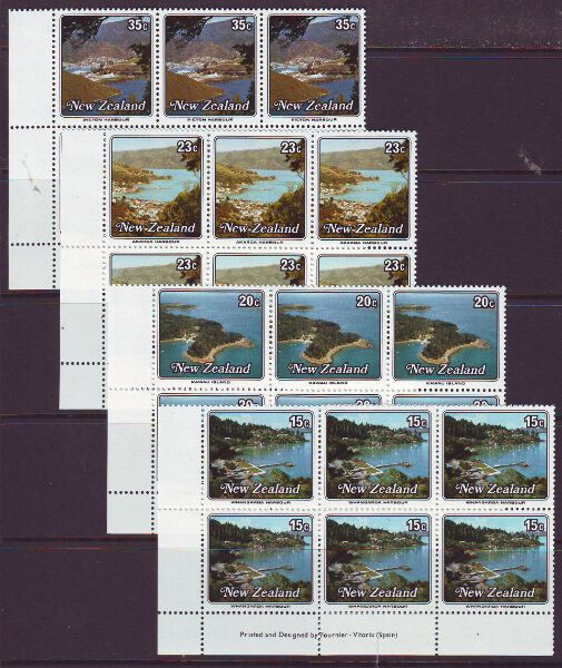 NEW ZEALAND 1979 SMALL HARBOURS SG1192-95 IMPRINT BLOCKS MUH