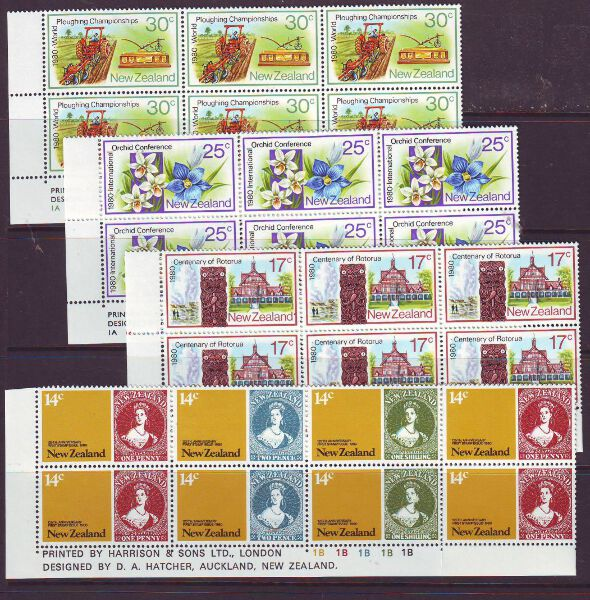 NEW ZEALAND 1980 ANNIVERSARIES SG1210-15 IMPRINT BLOCKS MUH