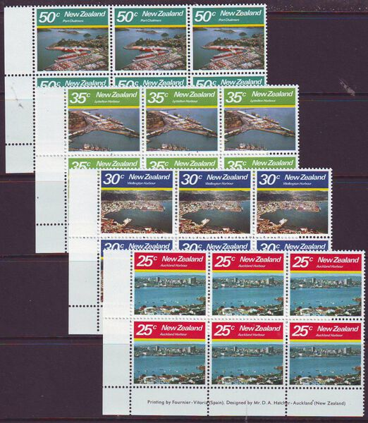 NEW ZEALAND 1980 LARGE HARBOURS SG1221-24 IMPRINT BLOCKS MUH