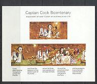 Sg#465MS Scott#482a Captain Cook Mini-sheet