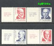 Sg#508b Scott#N/A  7¢ Prime Ministers with Tabs [4]