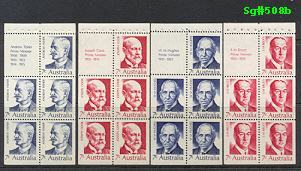 Sg#508a Scott#N/A  7¢ Prime Ministers Booklet Panes