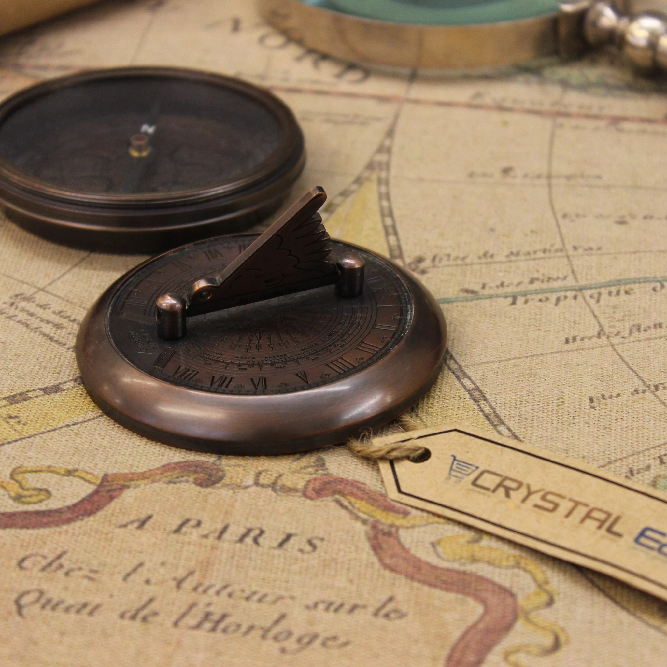 Gilbert Antik Taschen Kompass Sonnenuhr Robert Frost Poème Messing Reproduktion