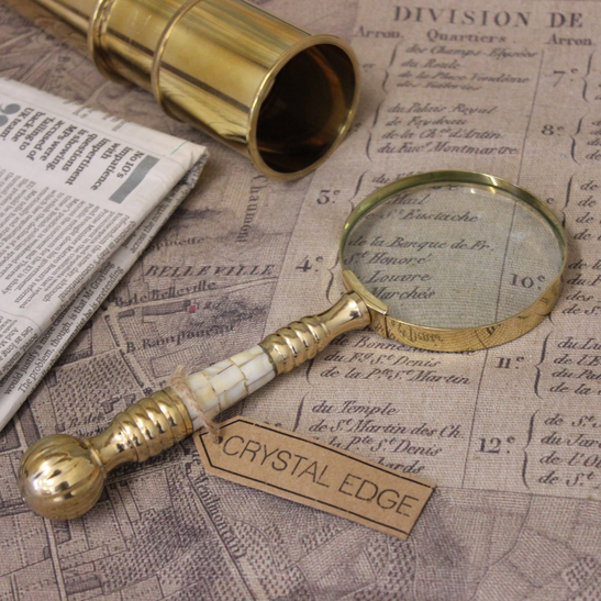 Victorian Trading Co Mother of Pearl /& Brass Magnifying Glass Desk Accessories