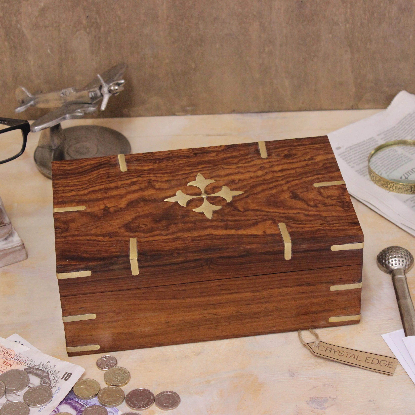 Aditi Large Wooden Storage Box Brass Detailing Rectangular Sheesham Wood