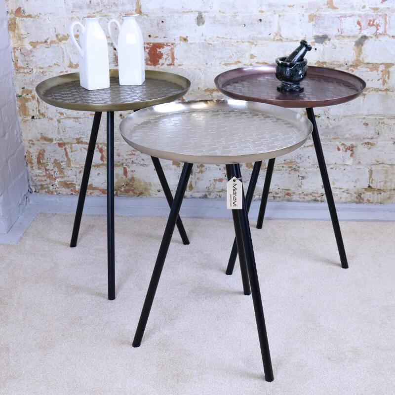 buy online c9e7b 717ad Details about Dass Metal Side Table Tripod Style Retro Vintage 3 Colours  Accent End Tray