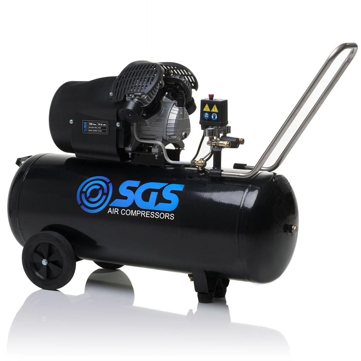 Details about SGS 100 Litre Air Compressor & 5 Piece Tool Kit - 14 6 CFM, 3  HP