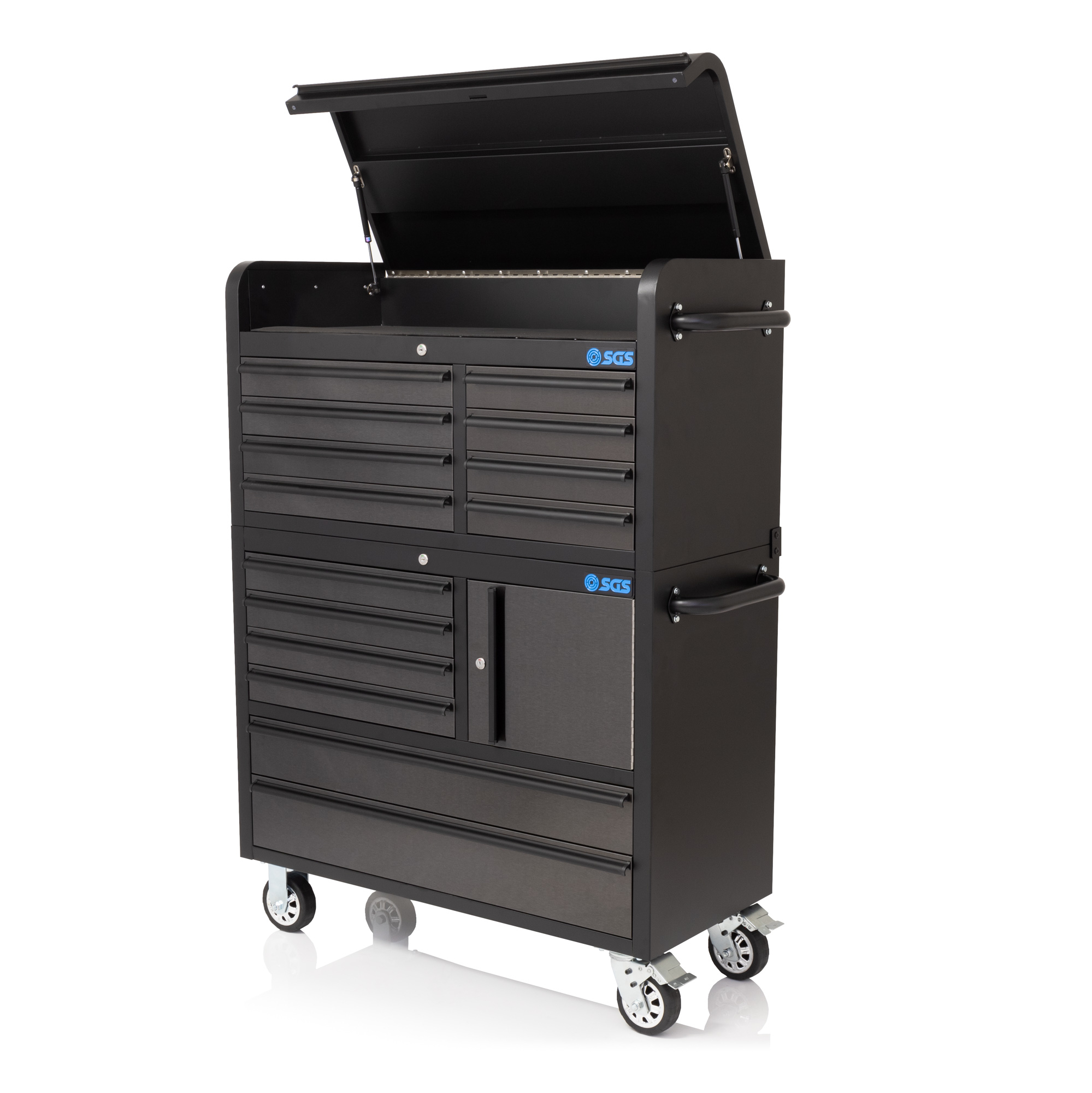 Workshop Storage Trolley Tool Box Cabinet Service Cart Tool Chest with 14 Drawer